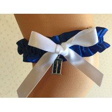 Dr Who Tardis Police Box Blue and White Garter