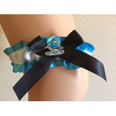 NRL Cronulla Sharks Garter with Metal Logo Pin