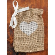 Heart Design Burlap Favor Bags
