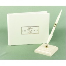 50th  Small Ivory Guest Book