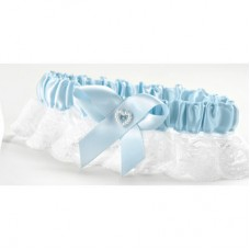 Blue Heart & Rhinestone Garter Wide Lace