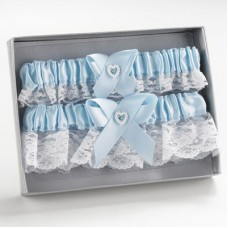 Bridal Garter Blue Heart Keep/Throw Set