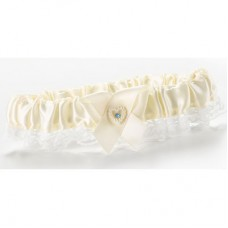 Ivory Double Heart Garter Narrow Lace