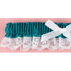 Jade Blue Ribbon & Lace Garter
