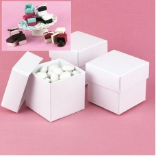 White Shimmer 2 piece Favor Boxes
